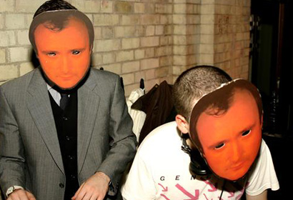 Alexis Taylor DJ in Phil Collins masks